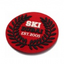 suede backgroud silicone rubber badge